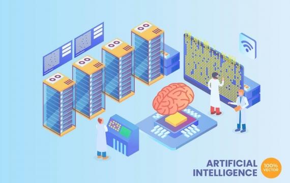 2.5D等距人工智能矢量概念插画