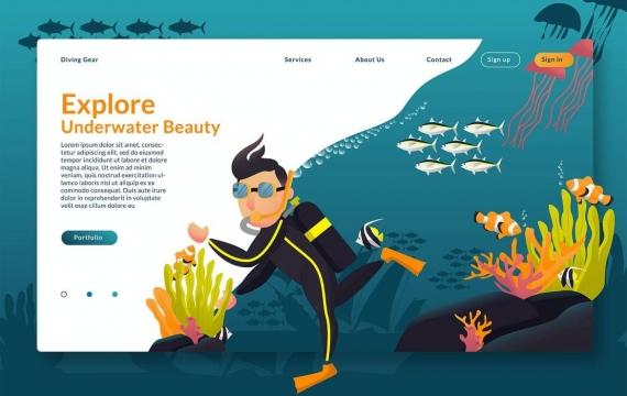 探索水下-Web页眉和矢量GR