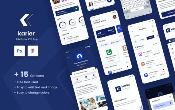 Karier-Job Portal iOS应用程序设计UI模板
