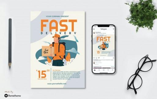 快速交付-快递送货海报设计模板