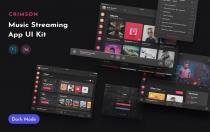 深红音乐UI套件界面设计模板