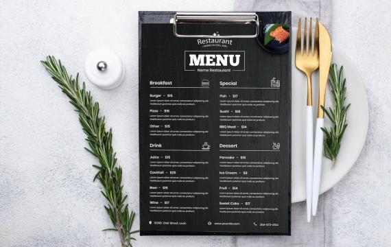 黑色菜单食物设计模板