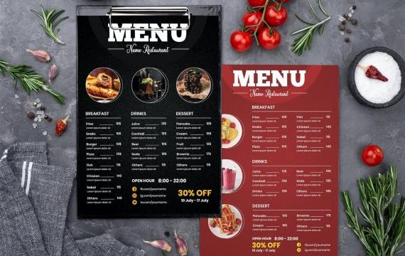 餐厅快餐-红黑色菜单模板