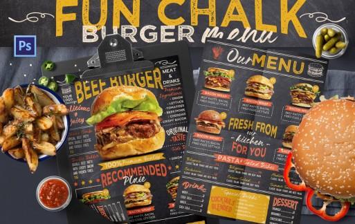 有趣的粉笔汉堡菜单设计模板