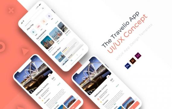 Travelio | 应用程式范本app设计模板