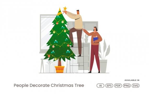 人们装饰圣诞树