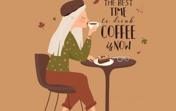 在咖啡馆的动画片美丽的女孩饮用的咖啡