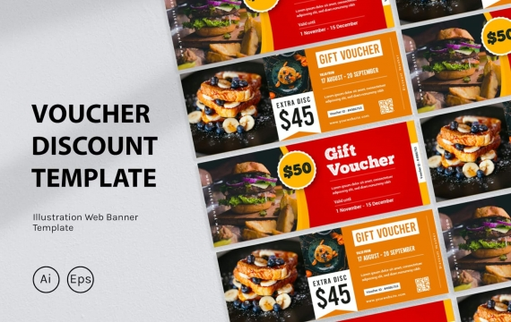 食品券折扣设计模板
