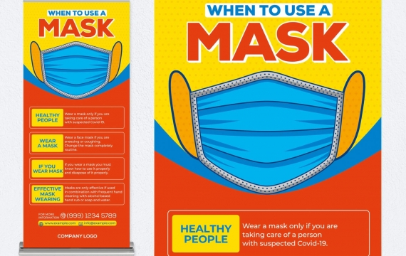如何使用口罩易拉宝宣传设计