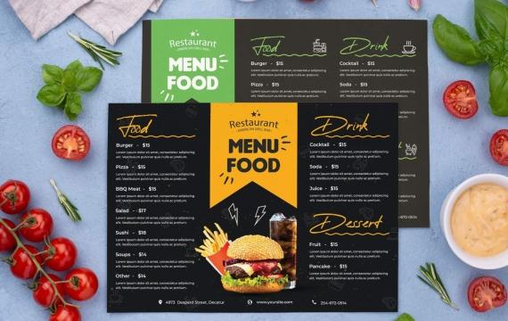 餐厅菜单食物传单设计模板