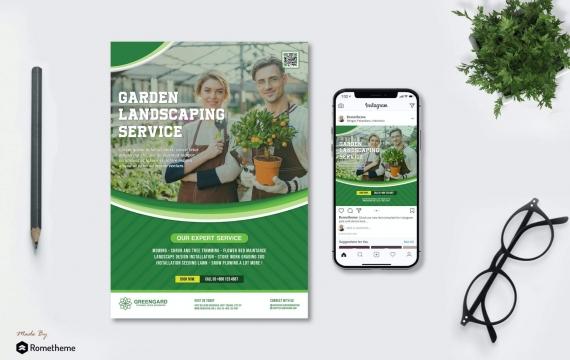绿色园艺传单和Instagram Post HR