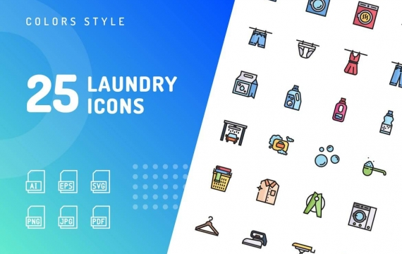洗衣服一组icon矢量图标