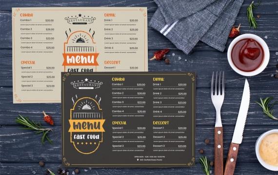 高级餐厅食物菜单设计模板