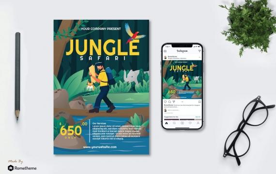 丛林野生动物园宣传海报矢量插画