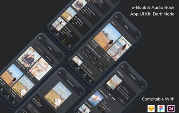 电子书和有声书App UI Kit深色模式