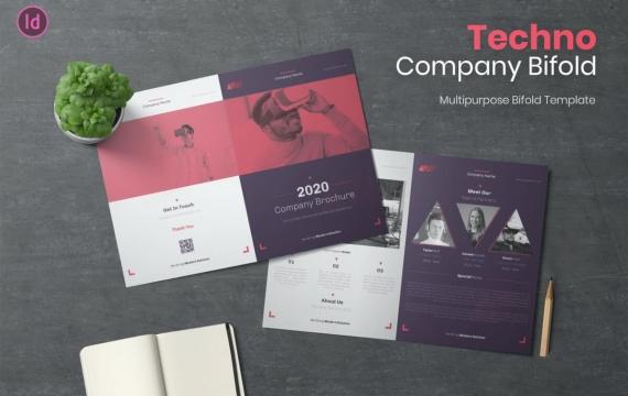 Techno公司双折小册子
