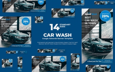 洗车Google Adwords横幅模板