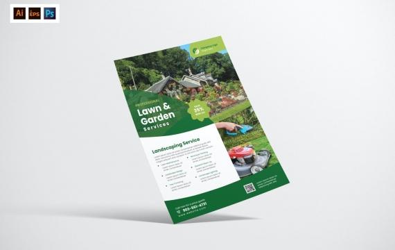 园艺景观服务绿色海报传单设计