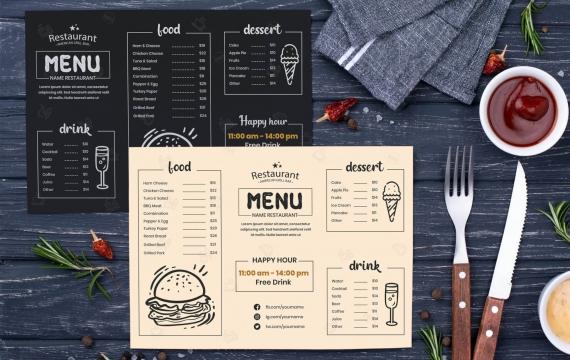 国外黑色菜单设计模板