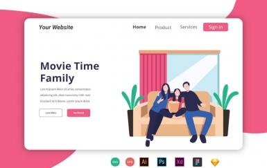 电影时间家庭登陆页面banner矢量人物插图