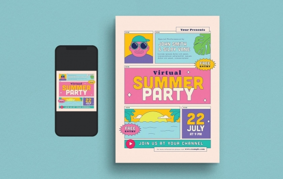 虚拟夏日聚会传单海报设计模板
