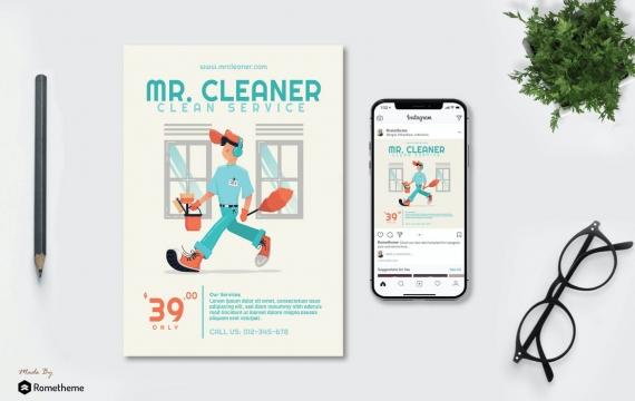清洁先生-打扫卫生人物矢量插图