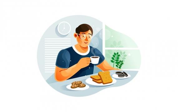 男人在家里吃早餐插画