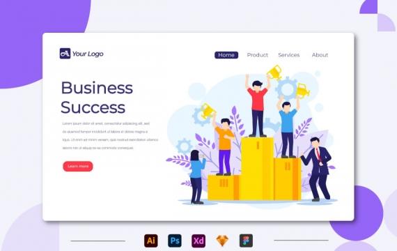商业成功-登陆页面矢量插图