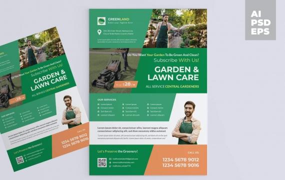 园艺景观服务传单海报设计