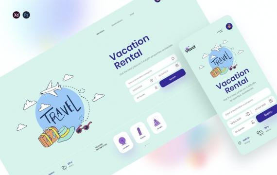 Vavel-标头旅行着陆页网页psd模板