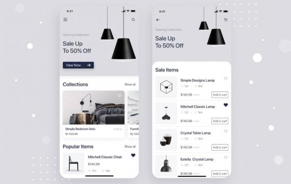 家具店移动应用程序概念ui设计模板