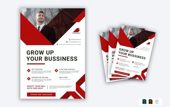 营销机构传单红色海报设计模板