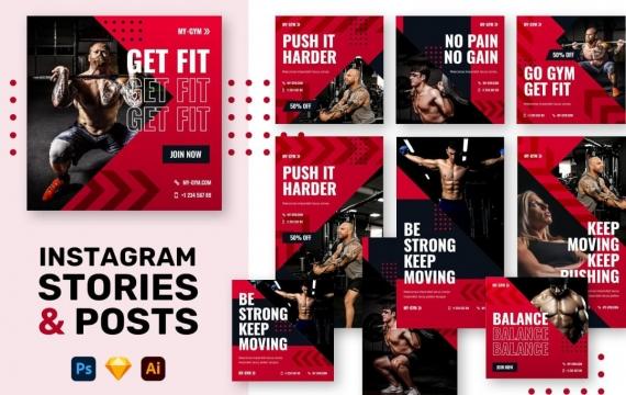 健身房Instagram的故事+帖子设计模板