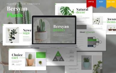 Bersyan植物  绿色热带植物介绍商务工作计划总结PPT模板
