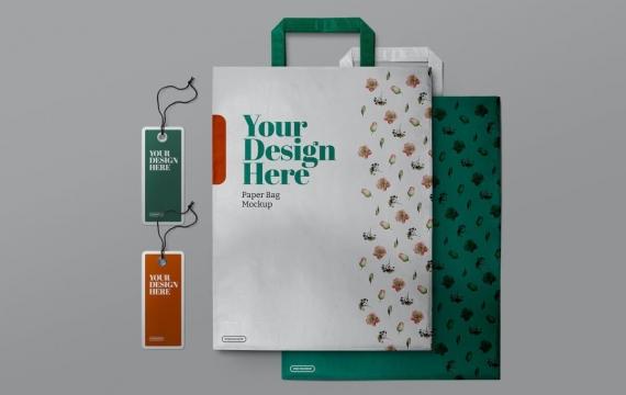 购物纸袋和标签标签样机