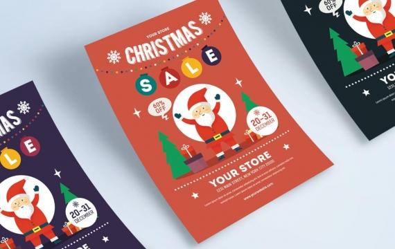 圣诞销售传单素材