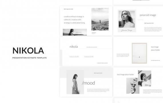 Nikola-极简文艺小清新风格时尚模特服装主题行业PPT模板