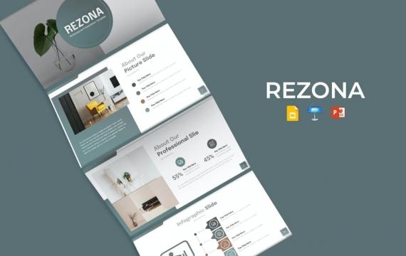 Rezona简约文艺风格 家居产品展示keynote模板