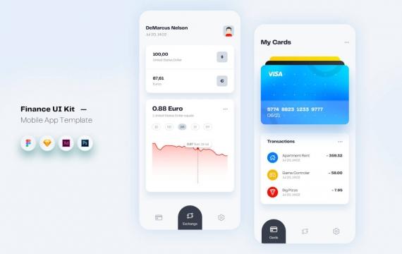 财务货币移动应用程序UI套件app模板