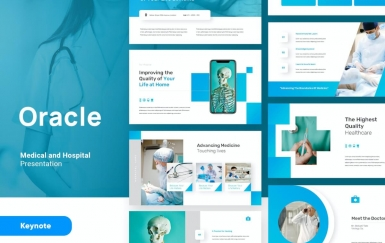 Oracle-医疗与健康主题演讲模板蓝色keynote模板下载