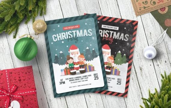 复古圣诞晚会传单海报