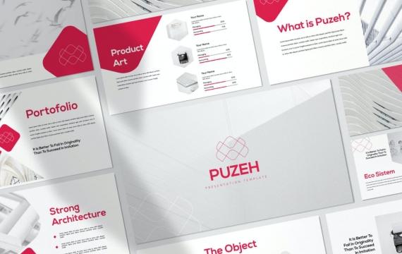 Puzeh-国外高端商务风格业务合作项目展示工作计划总结红色PPT模板