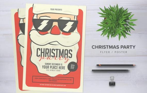 圣诞晚会传单海报设计素材下载