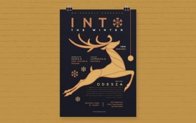圣诞活动海报圣诞鹿