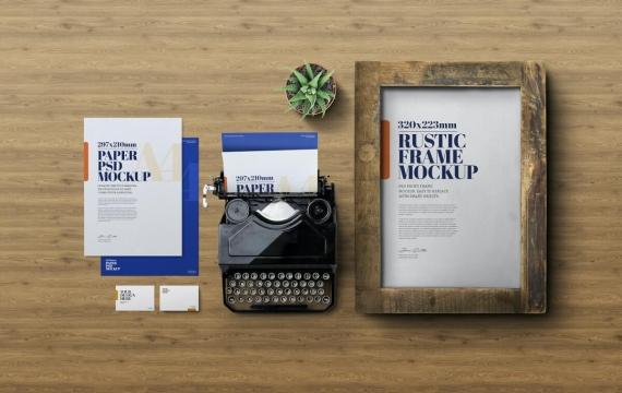 文具模型-仿古框架和老式打字机样机