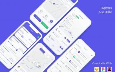 物流移动应用UI套件app模板