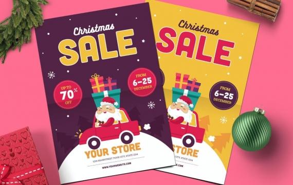 圣诞销售传单海报素材下载