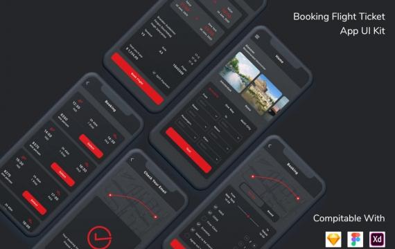 预订机票应用程序UI套件深色模式
