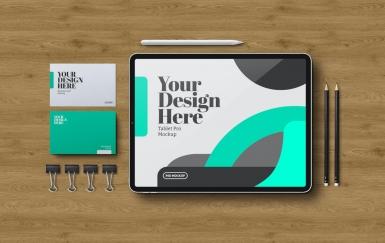 平板电脑和文具的模型样机下载