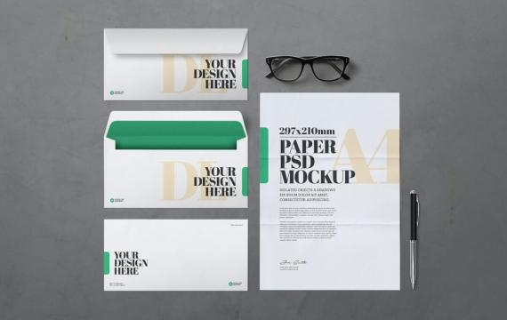 A4纸和DL信封样机